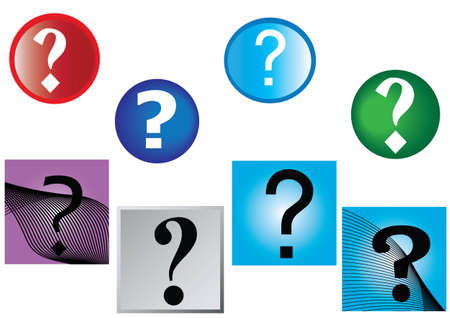 green issue: question marks and multi colored round and square backgrounds