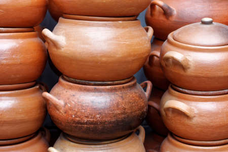 lima: lots of clay pots at the market in Lima