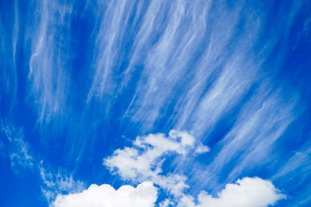 blue summer sky: bright blue sky with striking clouds in summer