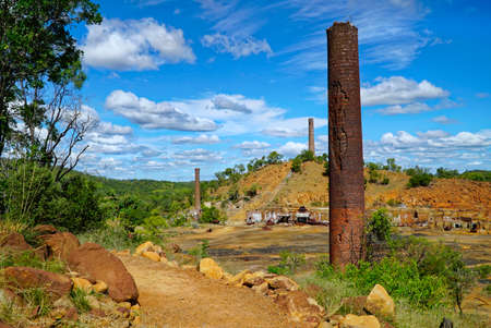 disused: Chillago smelter was used for copper, silver, lead and gold Stock Photo