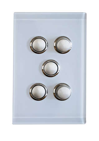 light switch: 5 buttons for a modern  light switch Stock Photo