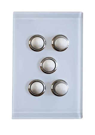 light circular: 5 buttons for a modern  light switch Stock Photo
