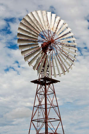 outback australia: windmill with large blades in outback Australia