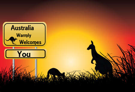 joey: Yellow sign  Australia Warmly Welcome You with a  kangaroo and sunset in background Illustration