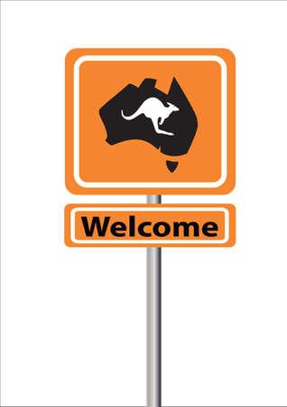 orange sign: Welcome orange sign with map of Australia and kangaroo Illustration
