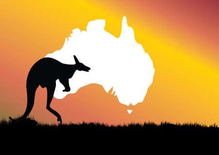 foreground: map of Australia with on kangaroo in the foreground