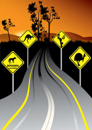 yellow beware: Australian road signs beside the road in the sunset