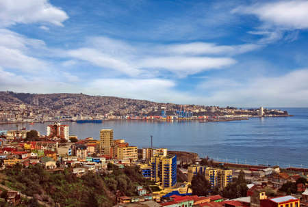 habour: Valparaiso Chile aerial view of town and habour Stock Photo