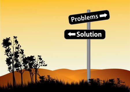 Problems or solution choise road sign pillar against sunset sky over hills. Illustration with copy space Ilustração Vetorial