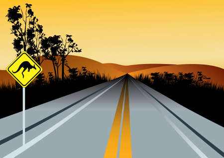 Illustration of Australian straight road with kangaroos ahead road sign, red hills and sunset sky in background 일러스트