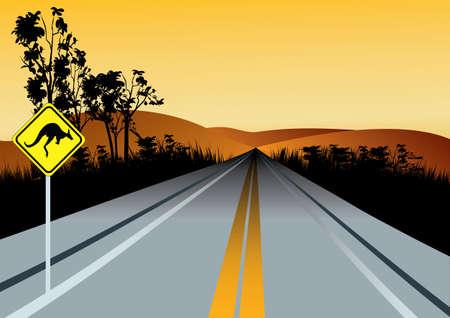 Ilustración de la carretera recta australiano con canguros por delante señal de tráfico, colinas rojas y el cielo puesta de sol en el fondo