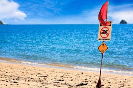 stingers: Palm Cove Cairns  danger do not swim stingers sign