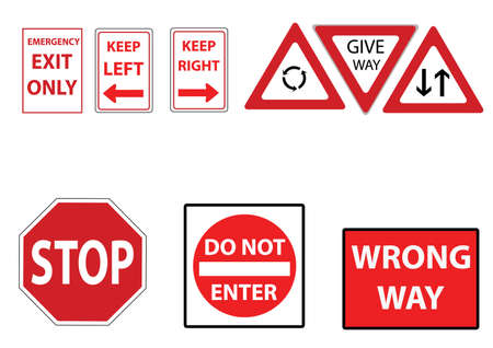 Set of assorted street signs in red Illustration