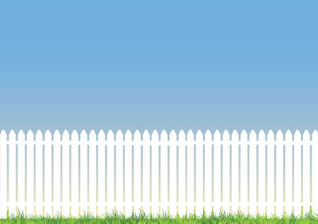 A white picket fence with  blue background and lots of space for copy Illustration