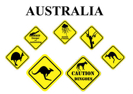 down under: set of yellow Australian wild life signs Illustration