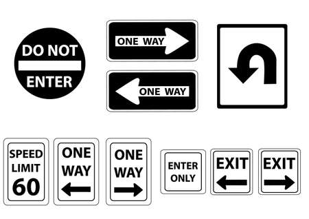 a set road signs in  black and white Illustration