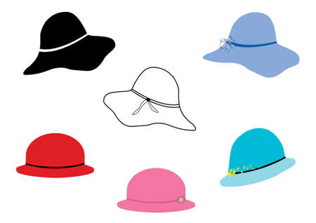 A set of ladies hats black and white also colour Illustration