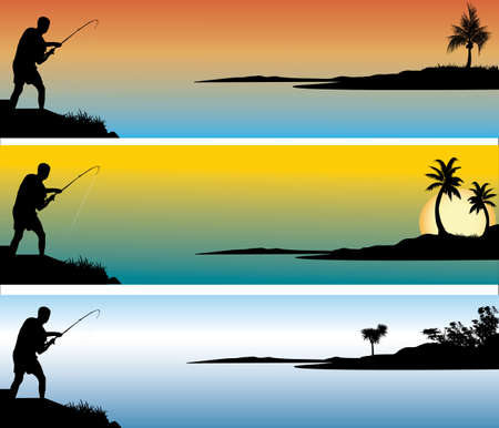 one fisherman with 3 different background colors Illustration