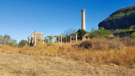 A landscape view of Mount Mulligan and chimney stack Stock Photo