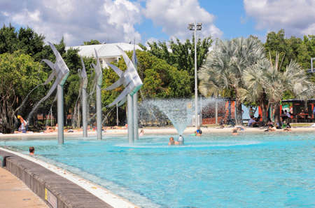 Public swimming pool in Cairns, Queensland Australia. Set on the Cairns foreshore overlooking Trinity Inlet. Editorial