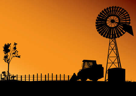 Australian outback scene with wind turbine bobcat and dingo in silhouette Illustration
