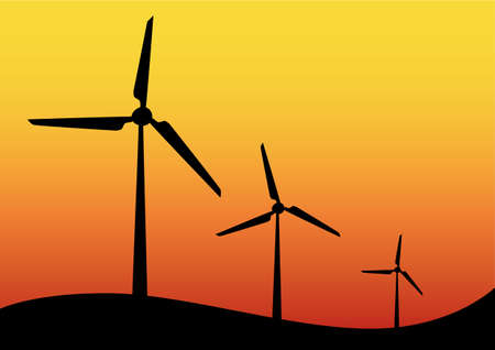 Wind turbine icons on hilltop against a colorful orange sunset sky in a concept of renewable sustainable electricity from conversion of kinetic energy, vector illustration. Иллюстрация