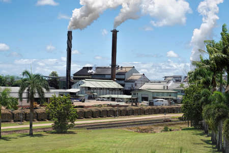 Smoking chimneys of Tully Sugar Mill - Australia. Viewed from the side with palm trees and fresh cut lawn in foreground on sunny day 版權商用圖片