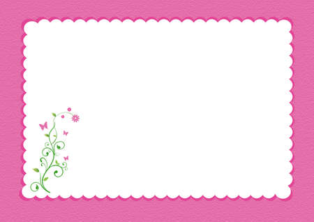 Pink scalloped border with floral design and white background for writing space.