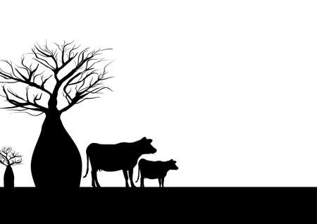 Two boab trees and cow black and white background illustration.