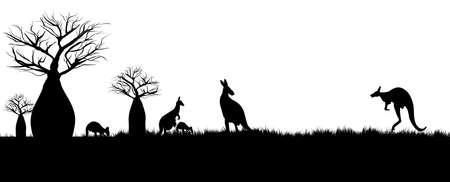 Silhouette of kangaroos hopping in the outback of Australia around baobao trees. Illustration