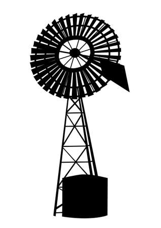 Silhouette of Australian windmill on a white background