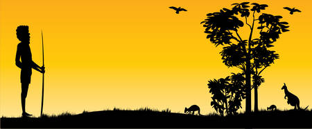 Australian Sunset with kangaroos and hunting aboriginal man as panorama view