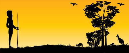 Australian Sunset with kangaroos and hunting aboriginal man as  panorama view