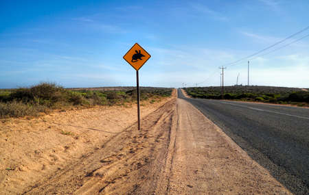 Bilby sign on the Highway in Western Australia. Bilby are desert-dwelling marsupial.