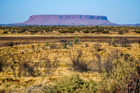 Distant view of Mount Conner from Lasseter highway in Northern Territory central Australia