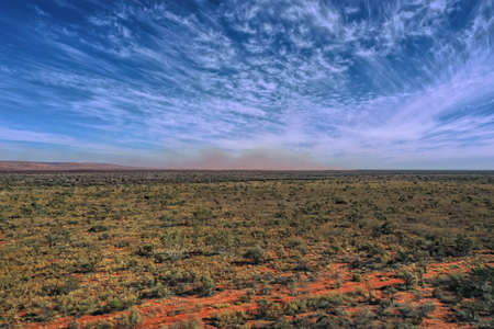 Dust storm in outback Australia seen in the horizon