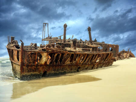 The Maheno was washed ashore on to Fraser Island by a cyclone in 1935 where the disintegrating wreck remains as a popular tourist attraction