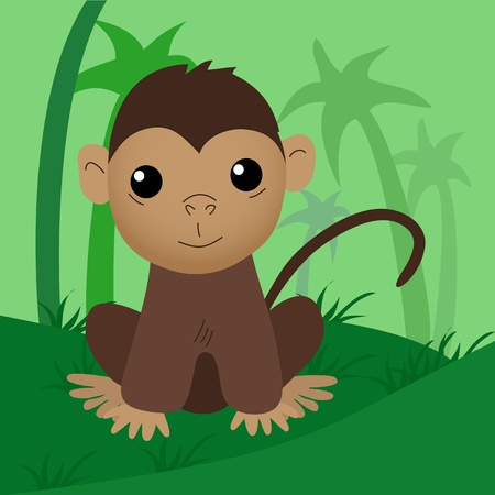 Cartoon baby monkey Stock Vector - 13917175