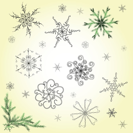 Set of hand-drawn snowflakes Illustration