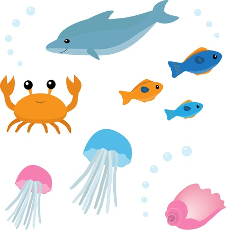 Cartoon sea life set 2 Illustration