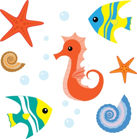 Cartoon sea life set 1 Vector