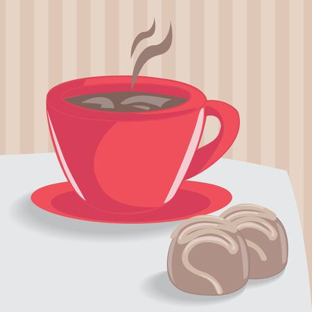 Red cup of coffee and two chocolate cakes Illustration