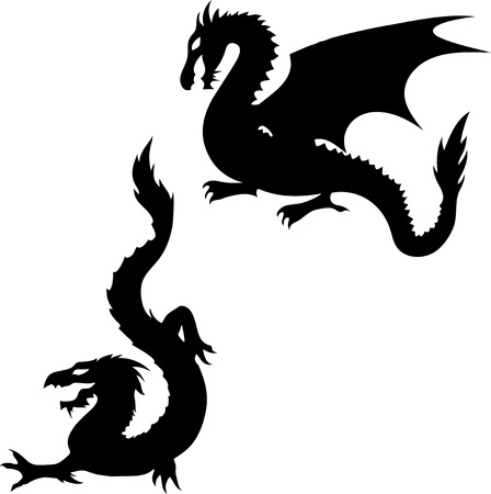 dragon tattoo: Ensemble de silhouettes de dragons deux sur fond blanc Illustration