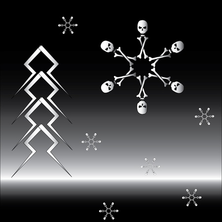Bone snowflake and firtree made of lightning Vector