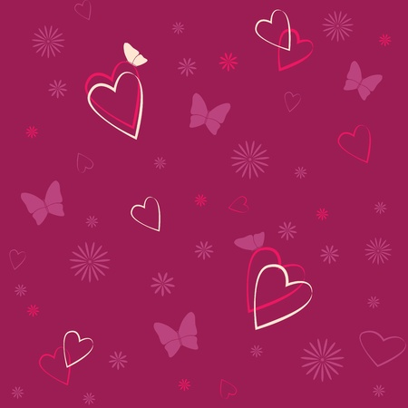 Romantic background with hearts, butterflies and flowers Vector