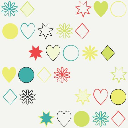 Abstract seamless background made of colorful shapes Stock Vector - 14296089