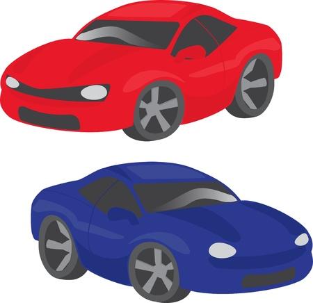 Set of two cartoon cars isolated on white background Illustration