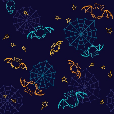 Halloween seamless background with bats and web Illustration