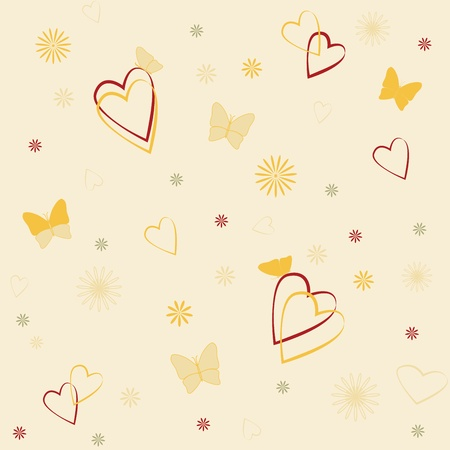 Romantic seamless background with hearts and butterflies Stock Vector - 15399075
