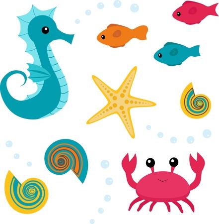 Colorful set of sea life  seahorse, fish, shell, starfish, crab